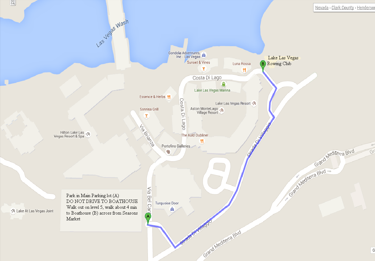 Please drive to the Lake Las Vegas MonteLago Village and park in the main parking lot, then walk to Boathouse